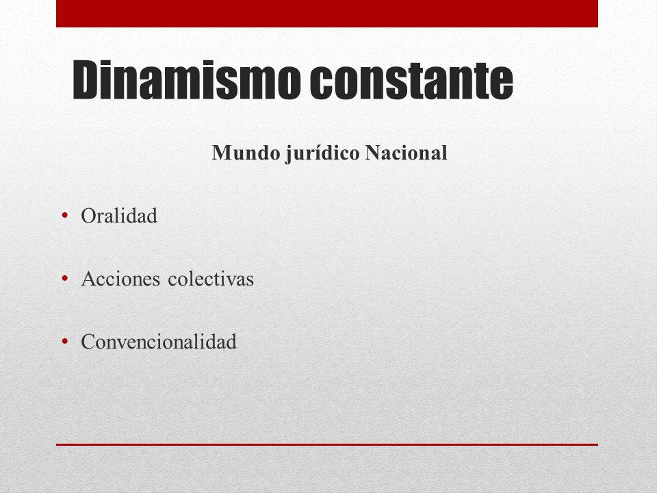Dinamismo constante Mundo jurídico Nacional Oralidad Acciones colectivas Convencionalidad