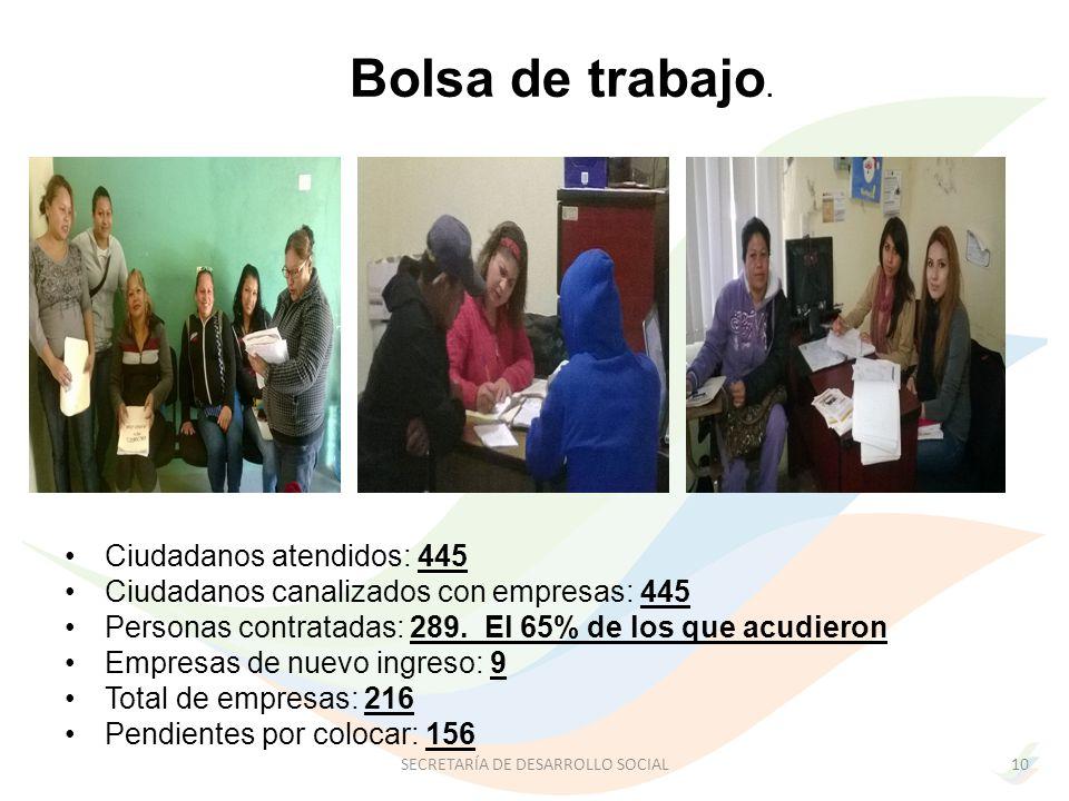 Ciudadanos atendidos: 445 Ciudadanos canalizados con empresas: 445 Personas contratadas: 289.
