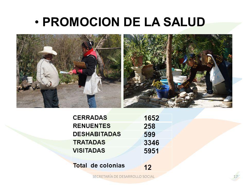 PROMOCION DE LA SALUD CERRADAS 1652 RENUENTES 258 DESHABITADAS 599 TRATADAS 3346 VISITADAS Total de colonias 5951 12 17SECRETARÍA DE DESARROLLO SOCIAL
