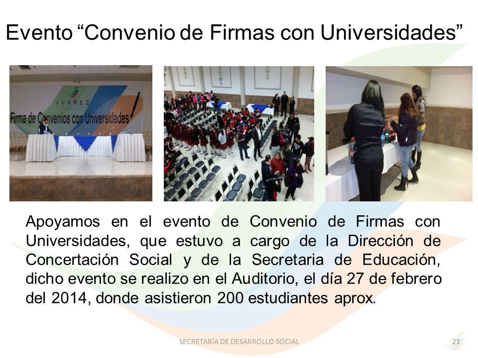 Apoyamos en el evento de Convenio de Firmas con Universidades, que estuvo a cargo de la Dirección de Concertación Social y de la Secretaria de Educación, dicho evento se realizo en el Auditorio, el día 27 de febrero del 2014, donde asistieron 200 estudiantes aprox.