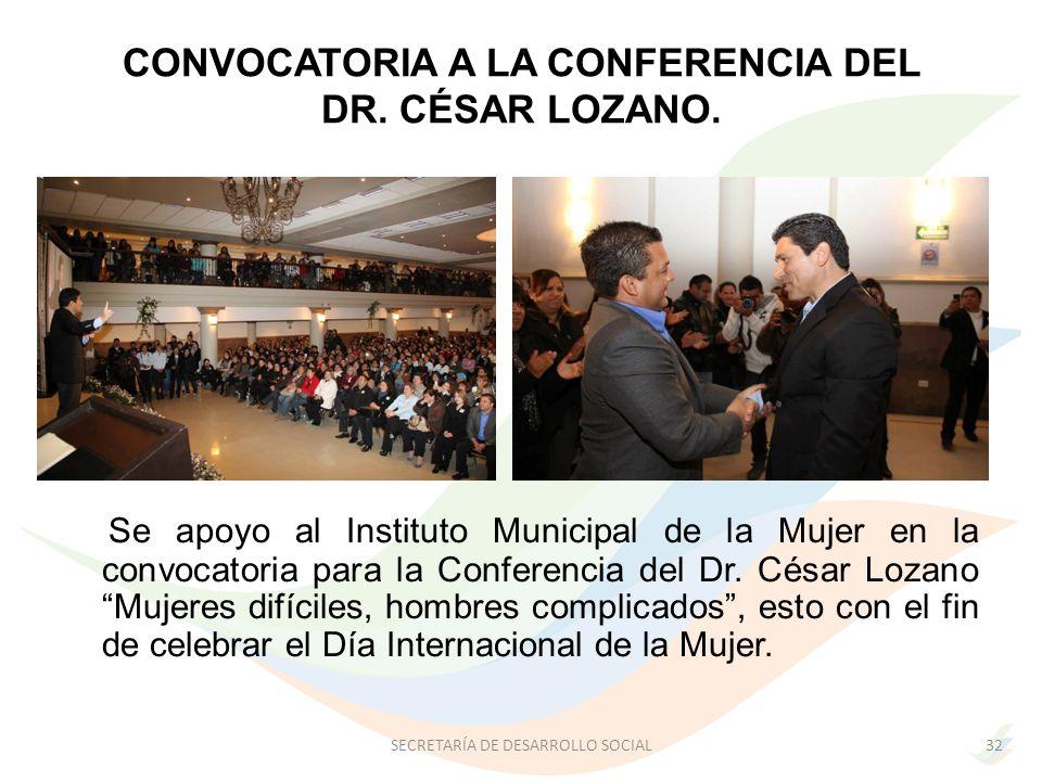 CONVOCATORIA A LA CONFERENCIA DEL DR.CÉSAR LOZANO.