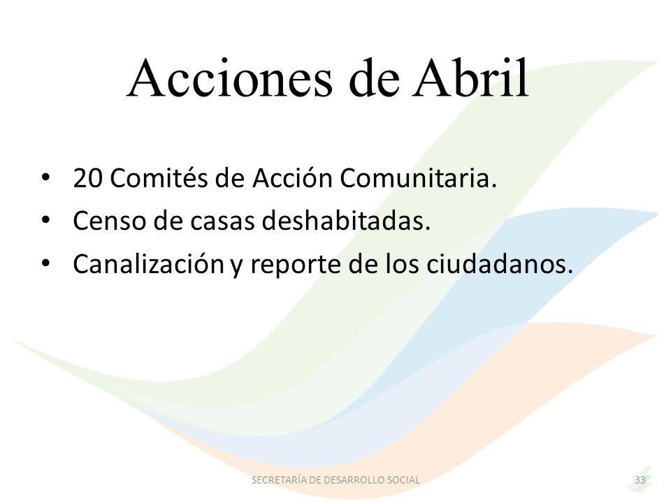 Acciones de Abril 33 20 Comités de Acción Comunitaria.