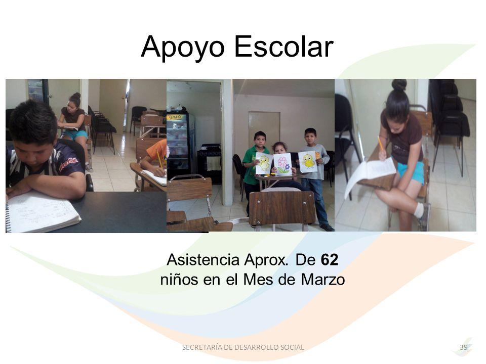 Apoyo Escolar Asistencia Aprox. De 62 niños en el Mes de Marzo 39SECRETARÍA DE DESARROLLO SOCIAL