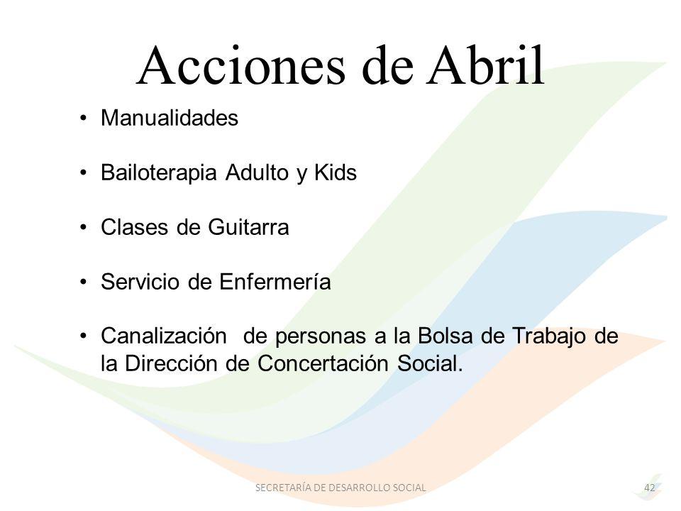 Manualidades Bailoterapia Adulto y Kids Clases de Guitarra Servicio de Enfermería Canalización de personas a la Bolsa de Trabajo de la Dirección de Concertación Social.