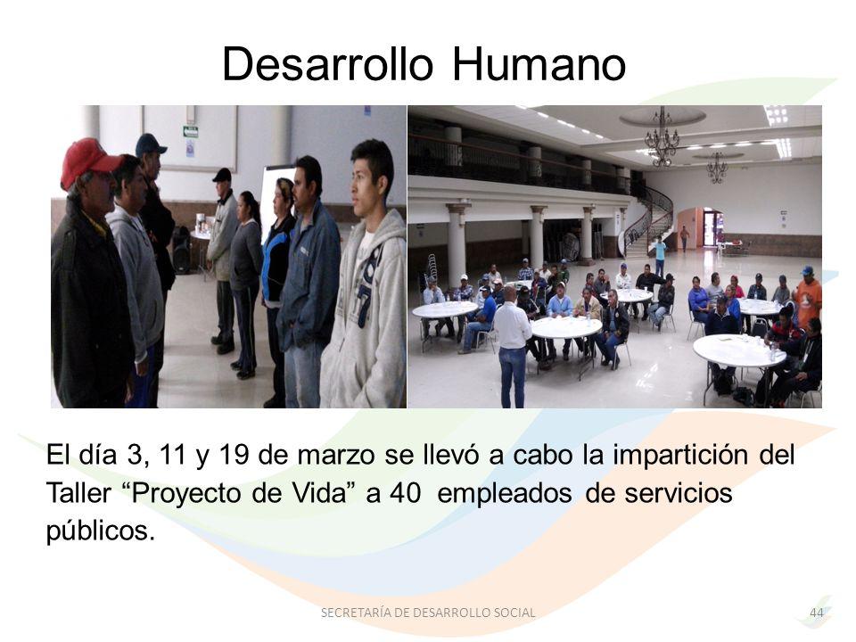 El día 3, 11 y 19 de marzo se llevó a cabo la impartición del Taller Proyecto de Vida a 40 empleados de servicios públicos.