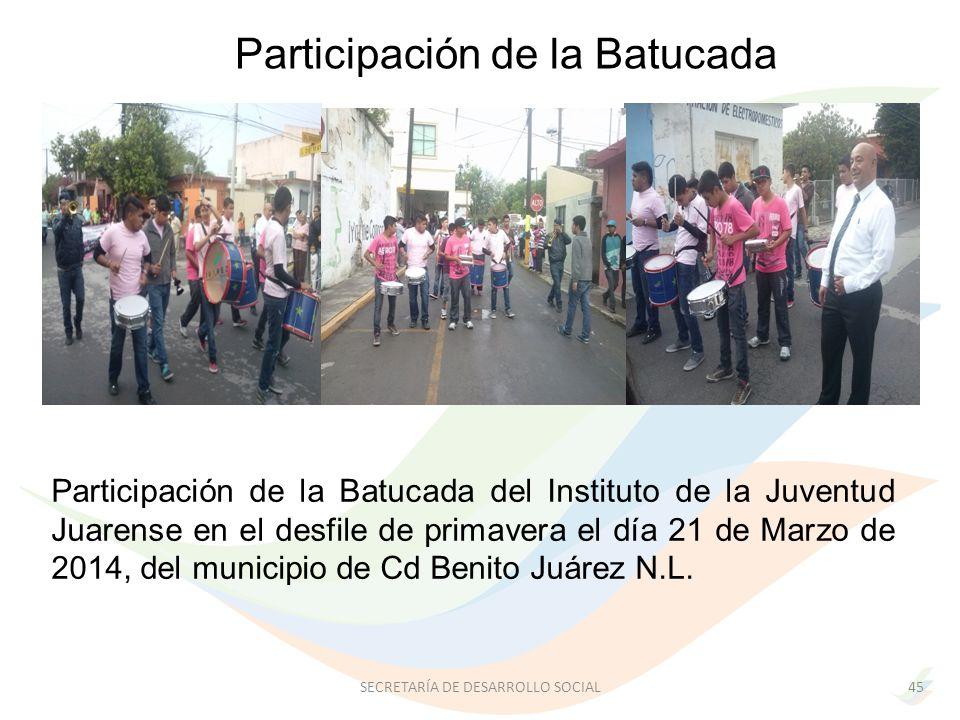 Participación de la Batucada del Instituto de la Juventud Juarense en el desfile de primavera el día 21 de Marzo de 2014, del municipio de Cd Benito Juárez N.L.