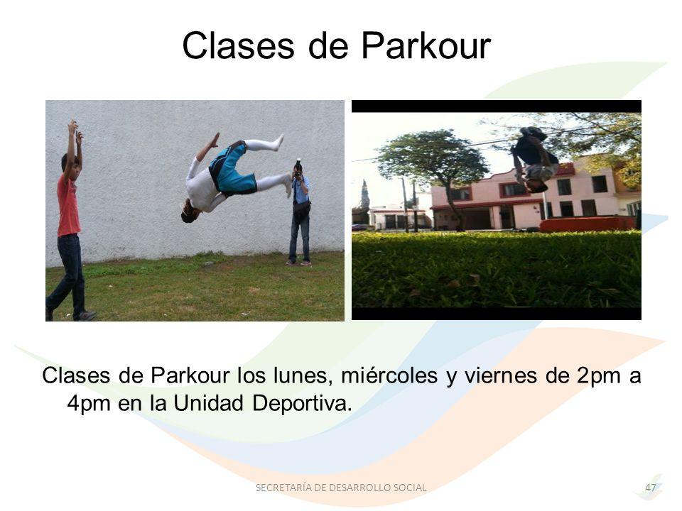 Clases de Parkour los lunes, miércoles y viernes de 2pm a 4pm en la Unidad Deportiva.