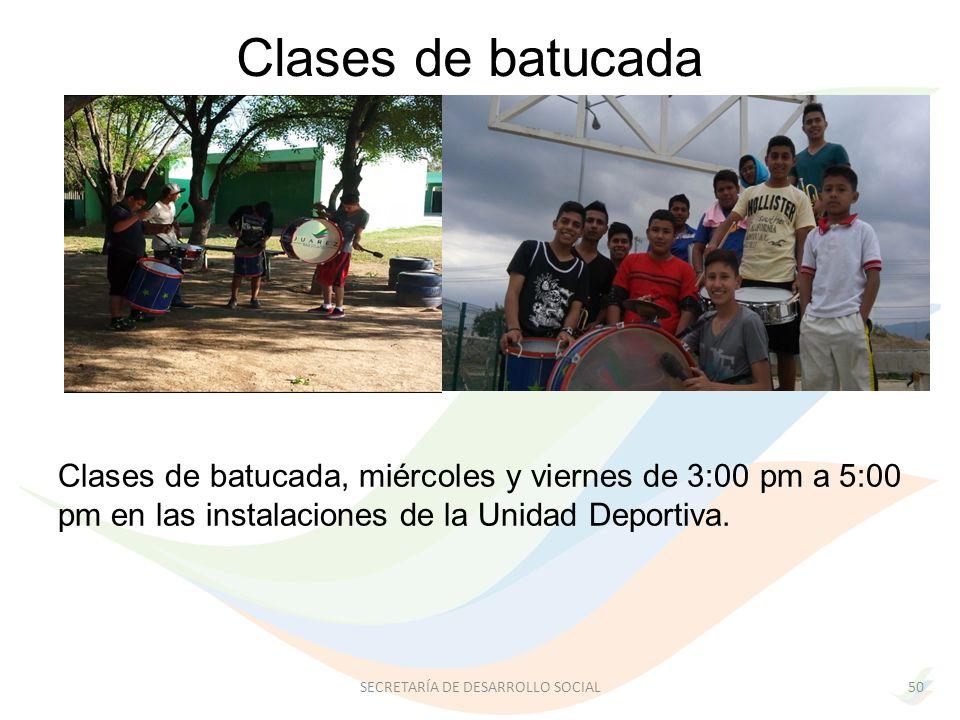 Clases de batucada, miércoles y viernes de 3:00 pm a 5:00 pm en las instalaciones de la Unidad Deportiva.