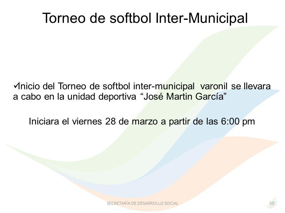 Inicio del Torneo de softbol inter-municipal varonil se llevara a cabo en la unidad deportiva José Martin García Iniciara el viernes 28 de marzo a partir de las 6:00 pm 55SECRETARÍA DE DESARROLLO SOCIAL Torneo de softbol Inter-Municipal