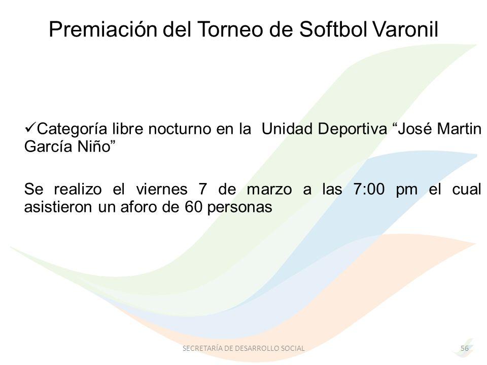Categoría libre nocturno en la Unidad Deportiva José Martin García Niño Se realizo el viernes 7 de marzo a las 7:00 pm el cual asistieron un aforo de 60 personas 56SECRETARÍA DE DESARROLLO SOCIAL Premiación del Torneo de Softbol Varonil