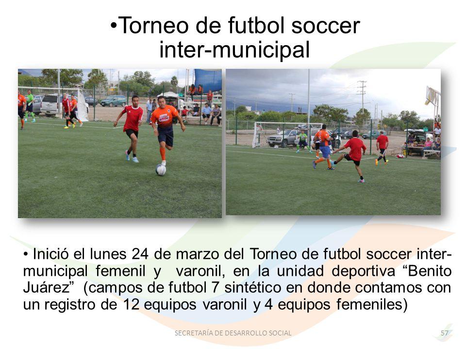 Inició el lunes 24 de marzo del Torneo de futbol soccer inter- municipal femenil y varonil, en la unidad deportiva Benito Juárez (campos de futbol 7 sintético en donde contamos con un registro de 12 equipos varonil y 4 equipos femeniles) Torneo de futbol soccer inter-municipal 57SECRETARÍA DE DESARROLLO SOCIAL
