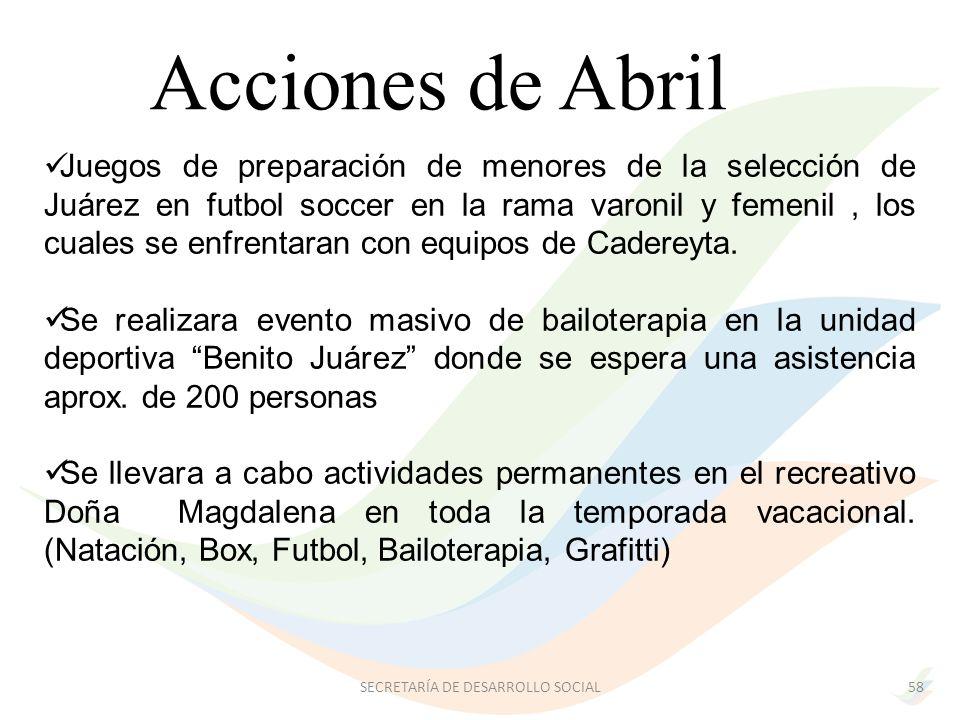 Acciones de Abril Juegos de preparación de menores de la selección de Juárez en futbol soccer en la rama varonil y femenil, los cuales se enfrentaran con equipos de Cadereyta.