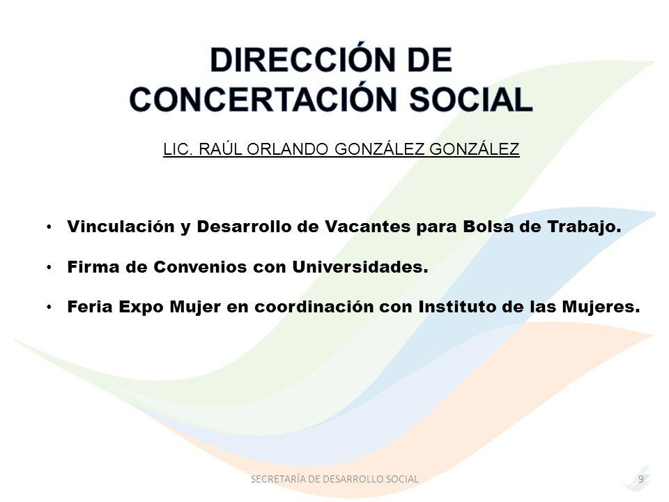 LIC. RAÚL ORLANDO GONZÁLEZ GONZÁLEZ SECRETARÍA DE DESARROLLO SOCIAL Vinculación y Desarrollo de Vacantes para Bolsa de Trabajo. Firma de Convenios con