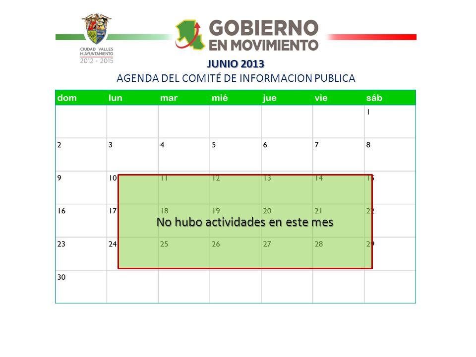 JUNIO 2013 JUNIO 2013 AGENDA DEL COMITÉ DE INFORMACION PUBLICA No hubo actividades en este mes