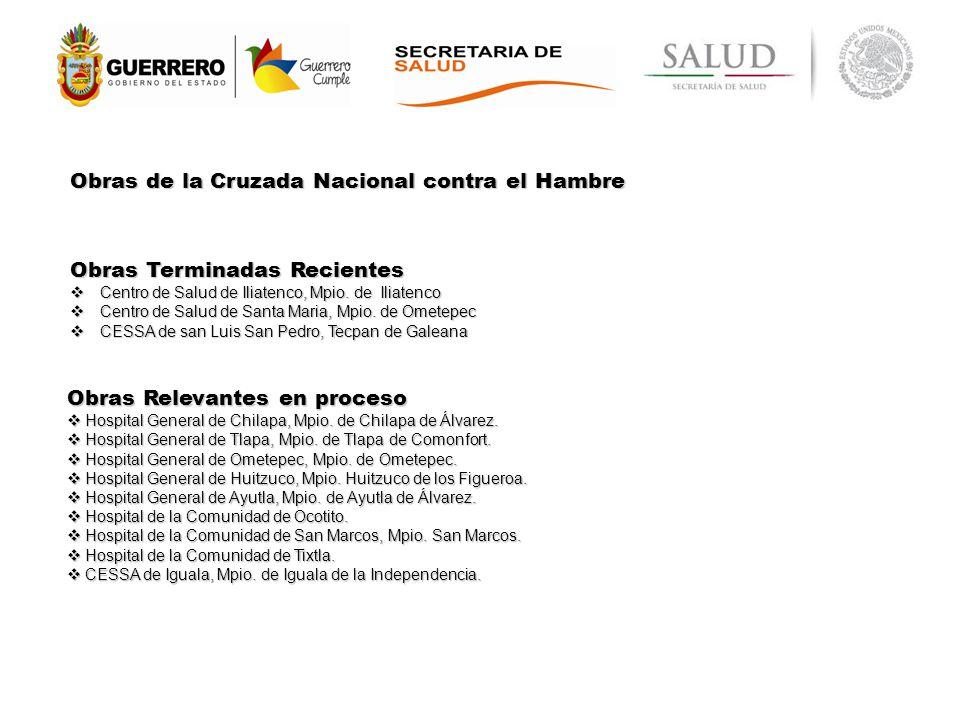 Obras de la Cruzada Nacional contra el Hambre Obras Relevantes en proceso Hospital General de Chilapa, Mpio.