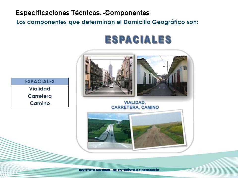 Los componentes que determinan el Domicilio Geográfico son: Especificaciones Técnicas. -Componentes ESPACIALES Vialidad Carretera Camino