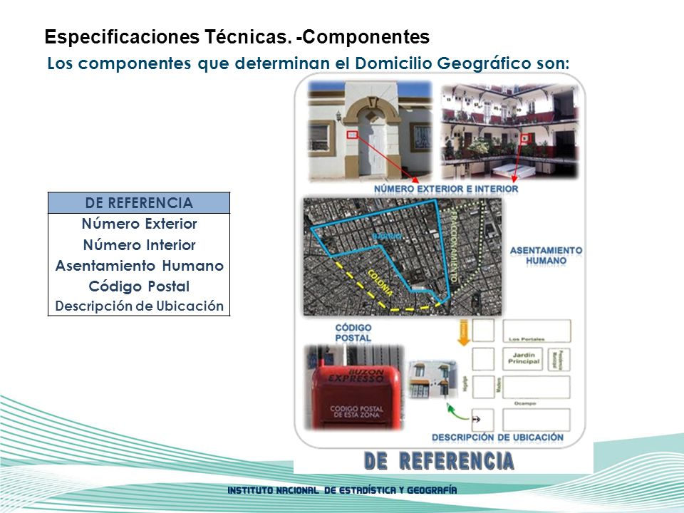 Los componentes que determinan el Domicilio Geográfico son: Especificaciones Técnicas. -Componentes DE REFERENCIA Número Exterior Número Interior Asen