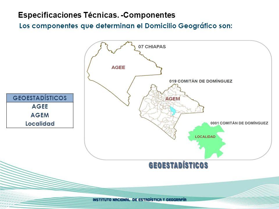 Los componentes que determinan el Domicilio Geográfico son: Especificaciones Técnicas. -Componentes GEOESTADÍSTICOS AGEE AGEM Localidad