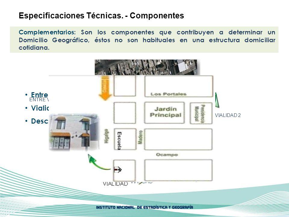 ENTRE VIALIDAD 1 ENTRE VIALIDAD 2 VIALIDAD Complementarios: Son los componentes que contribuyen a determinar un Domicilio Geográfico, éstos no son hab
