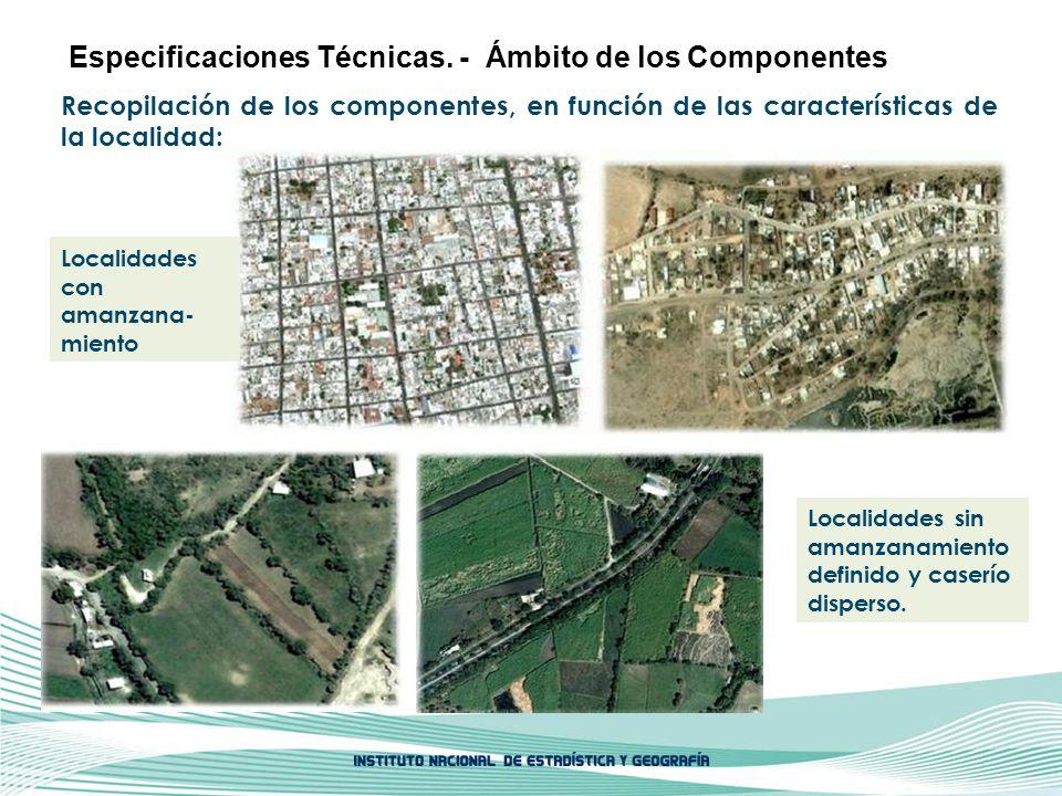 Recopilación de los componentes, en función de las características de la localidad: Especificaciones Técnicas. - Ámbito de los Componentes Localidades