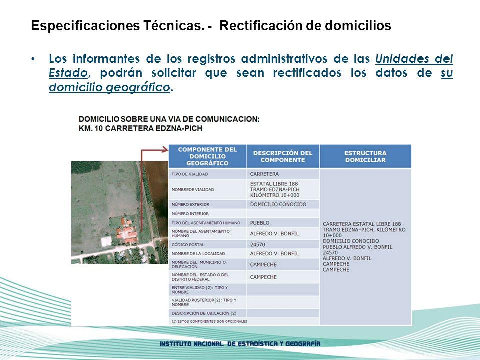 Los informantes de los registros administrativos de las Unidades del Estado, podrán solicitar que sean rectificados los datos de su domicilio geográfi