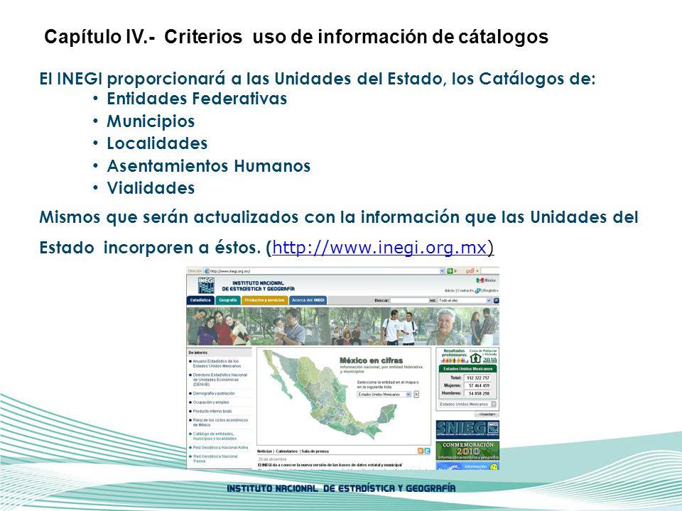 El INEGI proporcionará a las Unidades del Estado, los Catálogos de: Entidades Federativas Municipios Localidades Asentamientos Humanos Vialidades Mism