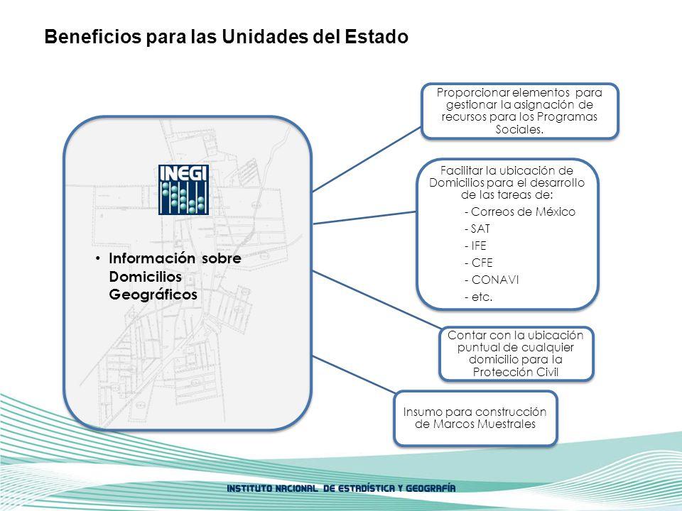 Información sobre Domicilios Geográficos Proporcionar elementos para gestionar la asignación de recursos para los Programas Sociales. Facilitar la ubi