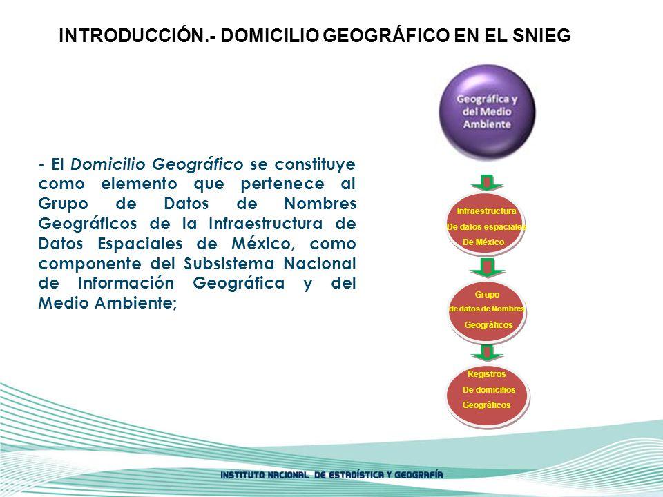 De México De datos espaciales Infraestructura Grupo de datos de Nombres Geográficos De domicilios Registros - El Domicilio Geográfico se constituye co