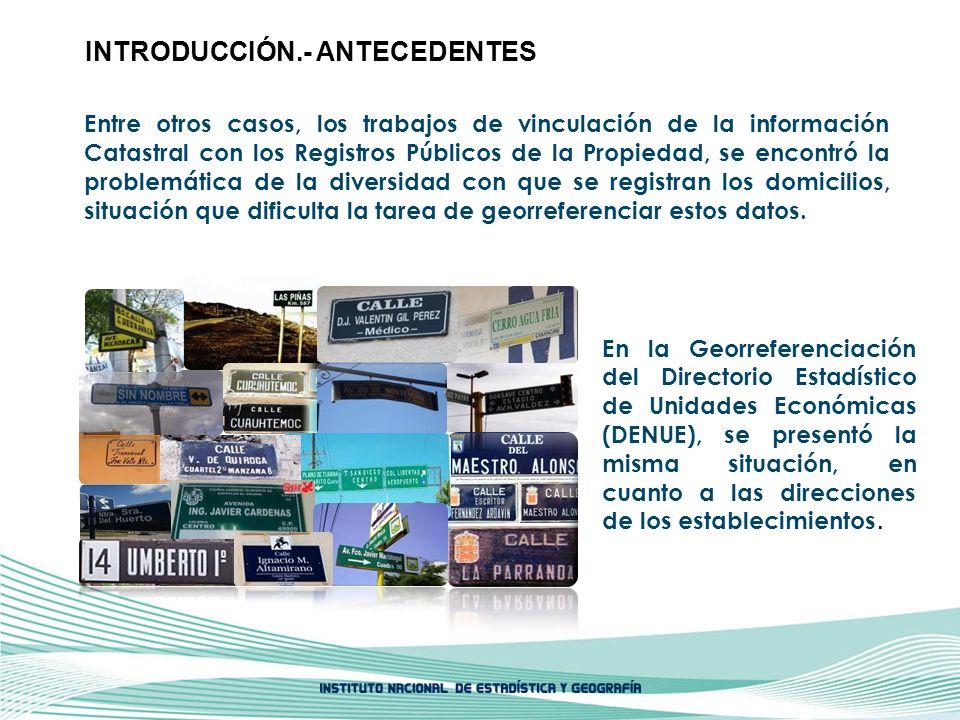 Los componentes que determinan el Domicilio Geográfico son: Especificaciones Técnicas.