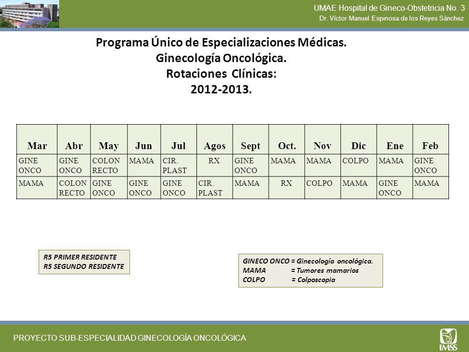 Programa Único de Especializaciones Médicas. Ginecología Oncológica. Rotaciones Clínicas: 2012-2013. MarAbrMayJunJulAgosSeptOct.NovDicEneFeb GINE ONCO