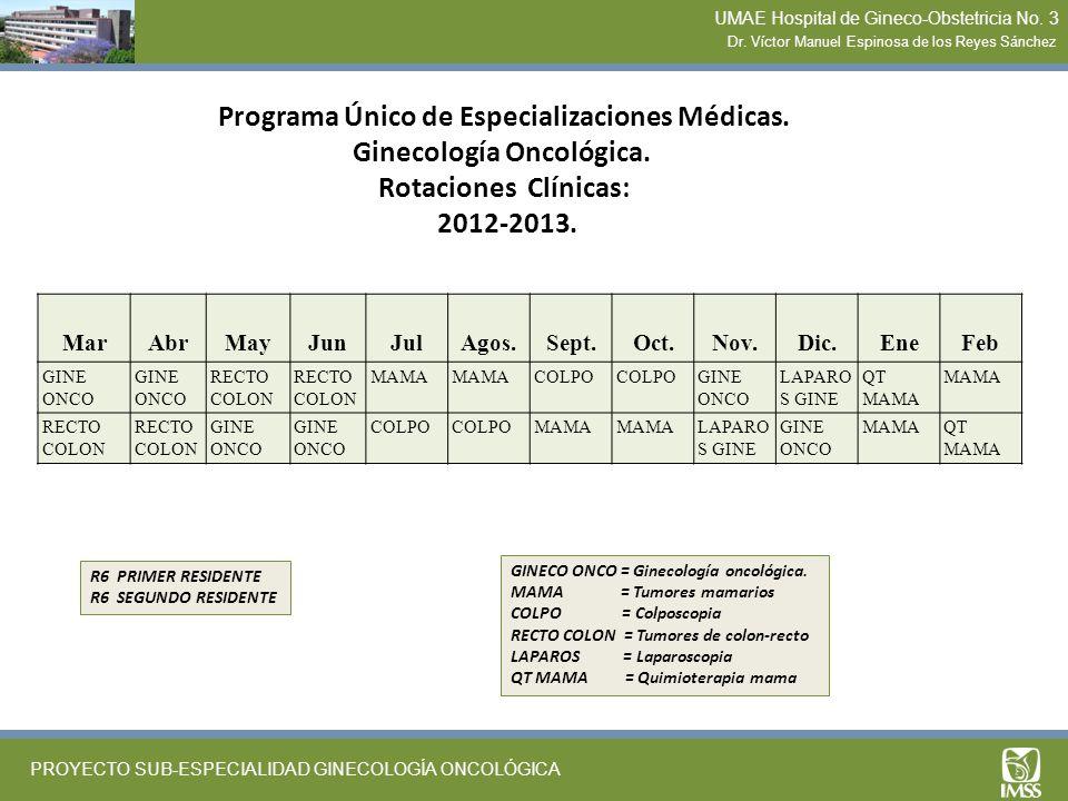 Programa Único de Especializaciones Médicas. Ginecología Oncológica. Rotaciones Clínicas: 2012-2013. MarAbrMayJunJulAgos.Sept.Oct.Nov.Dic.EneFeb GINE