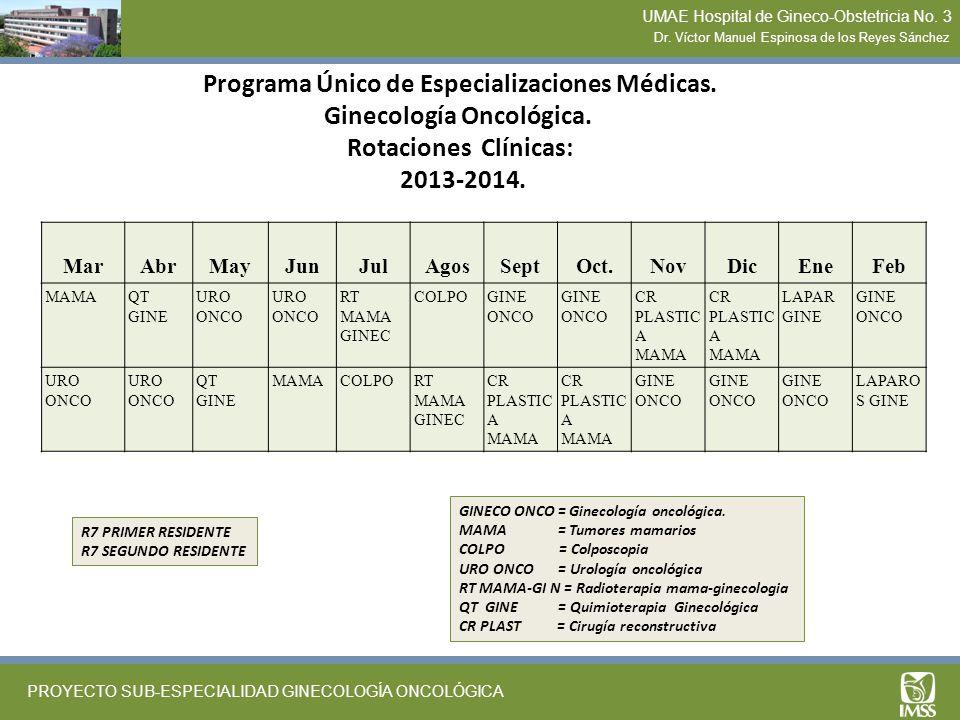 Programa Único de Especializaciones Médicas. Ginecología Oncológica. Rotaciones Clínicas: 2013-2014. MarAbrMayJunJulAgosSeptOct.NovDicEneFeb MAMAQT GI