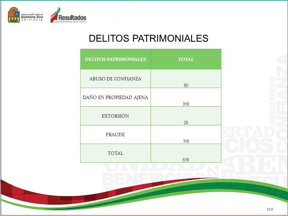 DELITOS PATRIMONIALESTOTAL ABUSO DE CONFIANZA 60 DAÑO EN PROPIEDAD AJENA 318 EXTORSIÓN 25 FRAUDE 116 TOTAL 519 DELITOS PATRIMONIALES 120