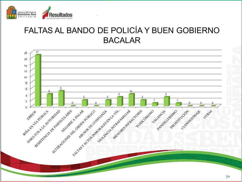 54 FALTAS AL BANDO DE POLICÍA Y BUEN GOBIERNO BACALAR