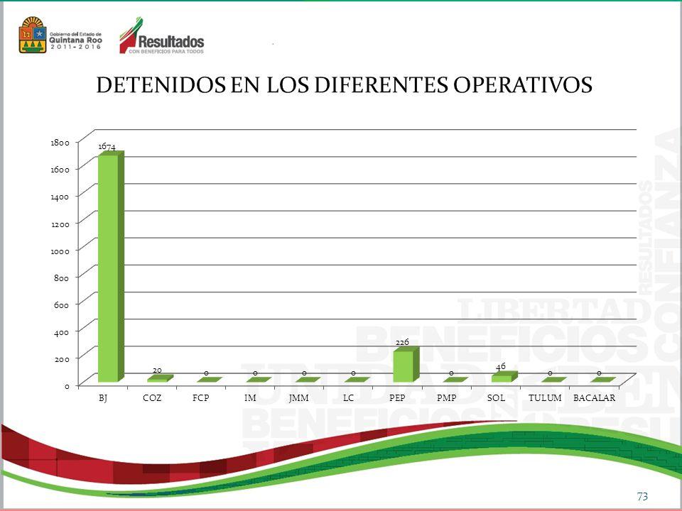 DETENIDOS EN LOS DIFERENTES OPERATIVOS 73