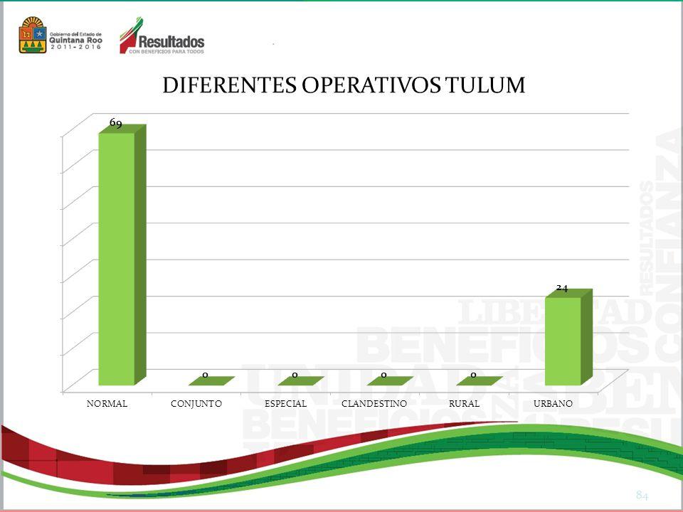 84 DIFERENTES OPERATIVOS TULUM