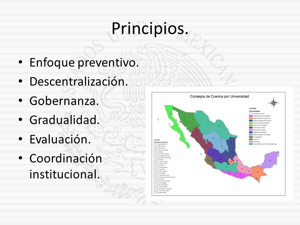 Principios. Enfoque preventivo. Descentralización. Gobernanza. Gradualidad. Evaluación. Coordinación institucional.