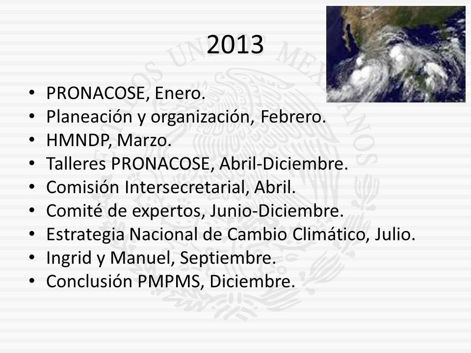 2013 PRONACOSE, Enero. Planeación y organización, Febrero. HMNDP, Marzo. Talleres PRONACOSE, Abril-Diciembre. Comisión Intersecretarial, Abril. Comité