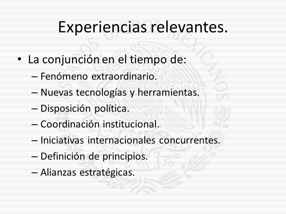 Experiencias relevantes. La conjunción en el tiempo de: – Fenómeno extraordinario. – Nuevas tecnologías y herramientas. – Disposición política. – Coor