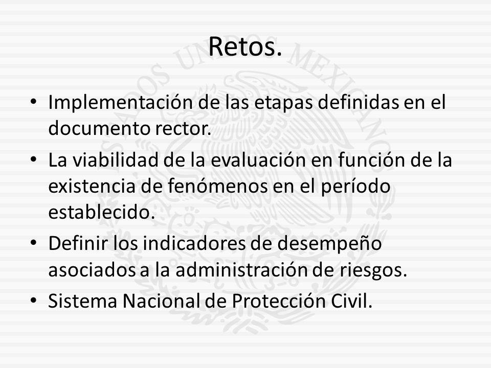Retos. Implementación de las etapas definidas en el documento rector. La viabilidad de la evaluación en función de la existencia de fenómenos en el pe