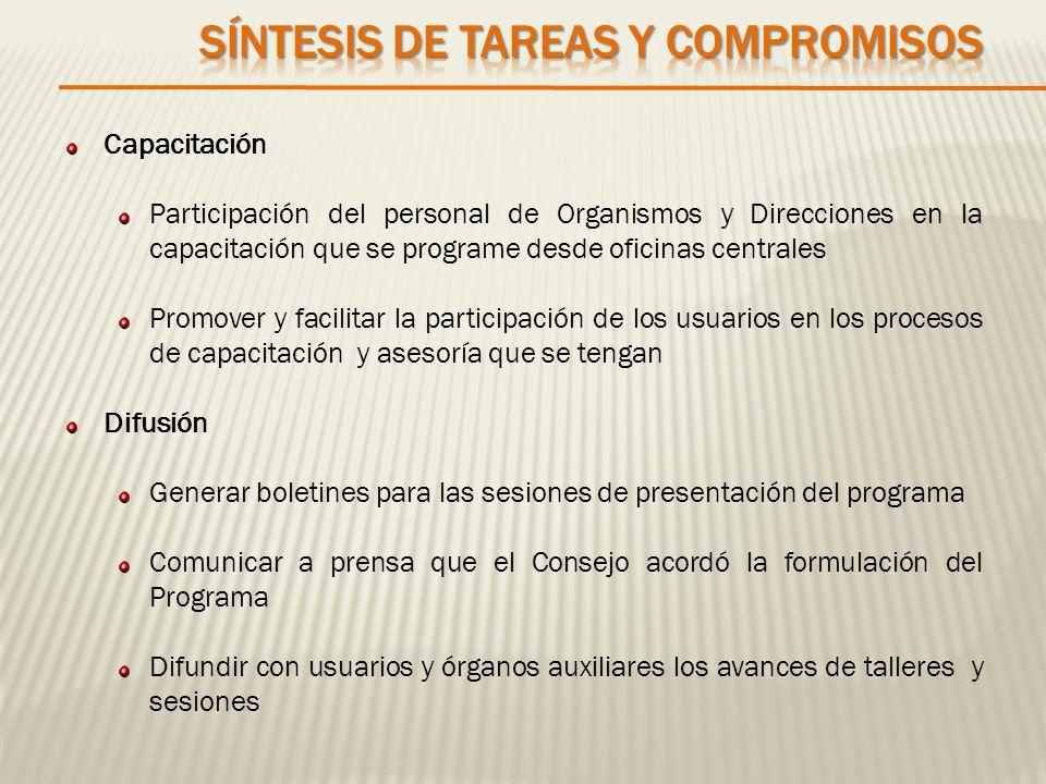 Capacitación Participación del personal de Organismos y Direcciones en la capacitación que se programe desde oficinas centrales Promover y facilitar l