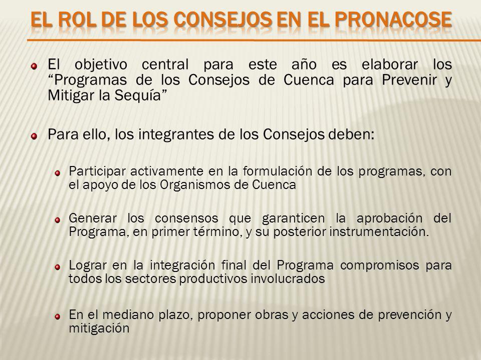 El objetivo central para este año es elaborar los Programas de los Consejos de Cuenca para Prevenir y Mitigar la Sequía Para ello, los integrantes de