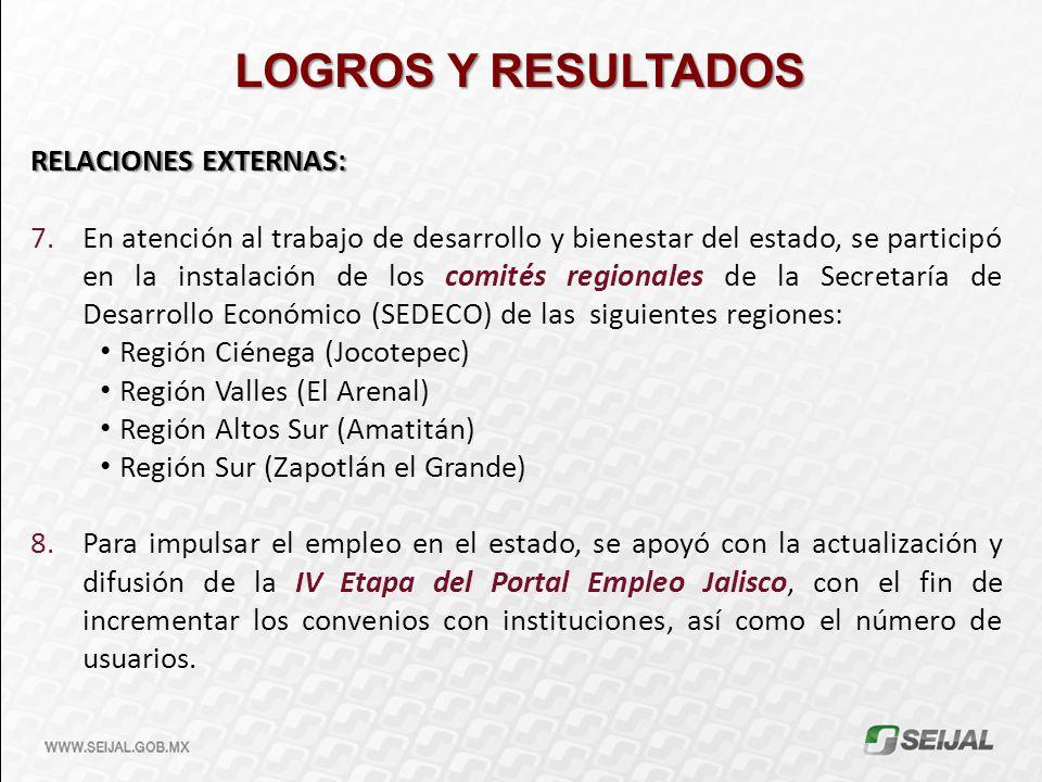 LOGROS Y RESULTADOS RELACIONES EXTERNAS: 7.En atención al trabajo de desarrollo y bienestar del estado, se participó en la instalación de los comités