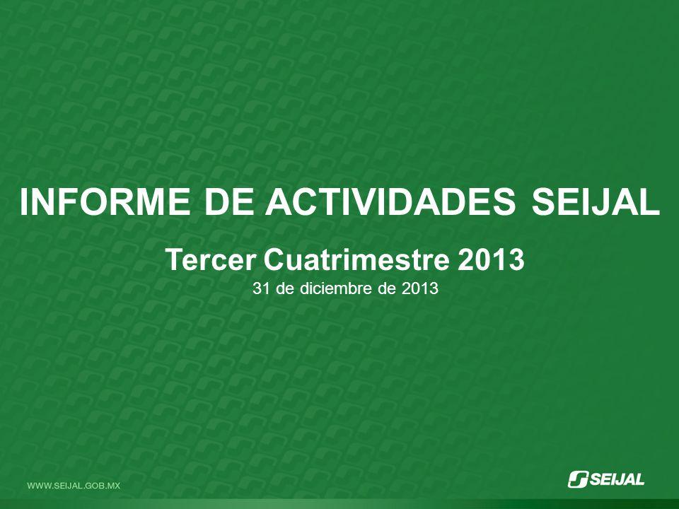 INFORME DE ACTIVIDADES SEIJAL Tercer Cuatrimestre 2013 31 de diciembre de 2013