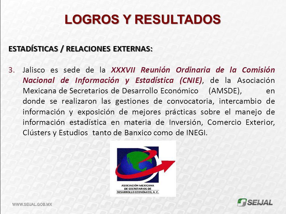 LOGROS Y RESULTADOS ESTADÍSTICAS / RELACIONES EXTERNAS: 3.Jalisco es sede de la XXXVII Reunión Ordinaria de la Comisión Nacional de Información y Esta