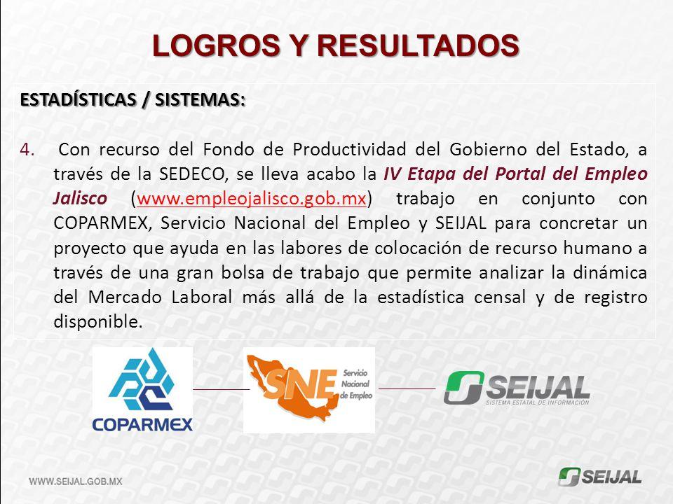LOGROS Y RESULTADOS ESTADÍSTICAS / SISTEMAS: 4. Con recurso del Fondo de Productividad del Gobierno del Estado, a través de la SEDECO, se lleva acabo