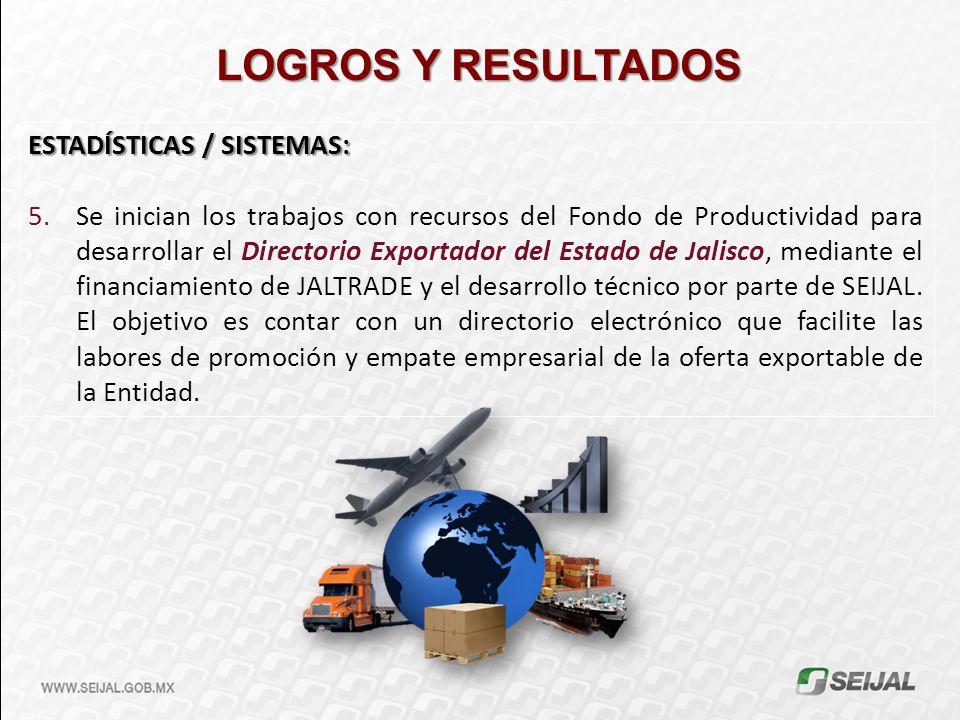 LOGROS Y RESULTADOS ESTADÍSTICAS / SISTEMAS: 5.Se inician los trabajos con recursos del Fondo de Productividad para desarrollar el Directorio Exportad