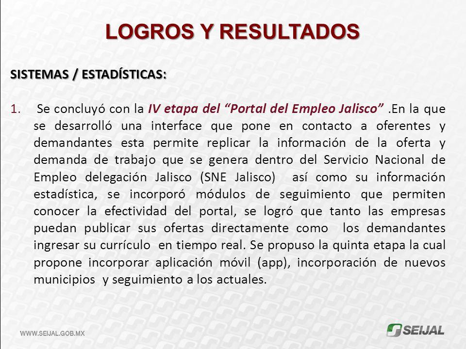 LOGROS Y RESULTADOS SISTEMAS / ESTADÍSTICAS: 1. Se concluyó con la IV etapa del Portal del Empleo Jalisco.En la que se desarrolló una interface que po