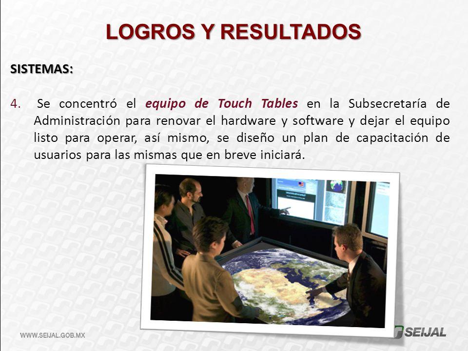 LOGROS Y RESULTADOS SISTEMAS: 4. Se concentró el equipo de Touch Tables en la Subsecretaría de Administración para renovar el hardware y software y de