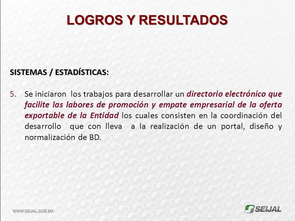 LOGROS Y RESULTADOS SISTEMAS / ESTADÍSTICAS: 5.Se iniciaron los trabajos para desarrollar un directorio electrónico que facilite las labores de promoc